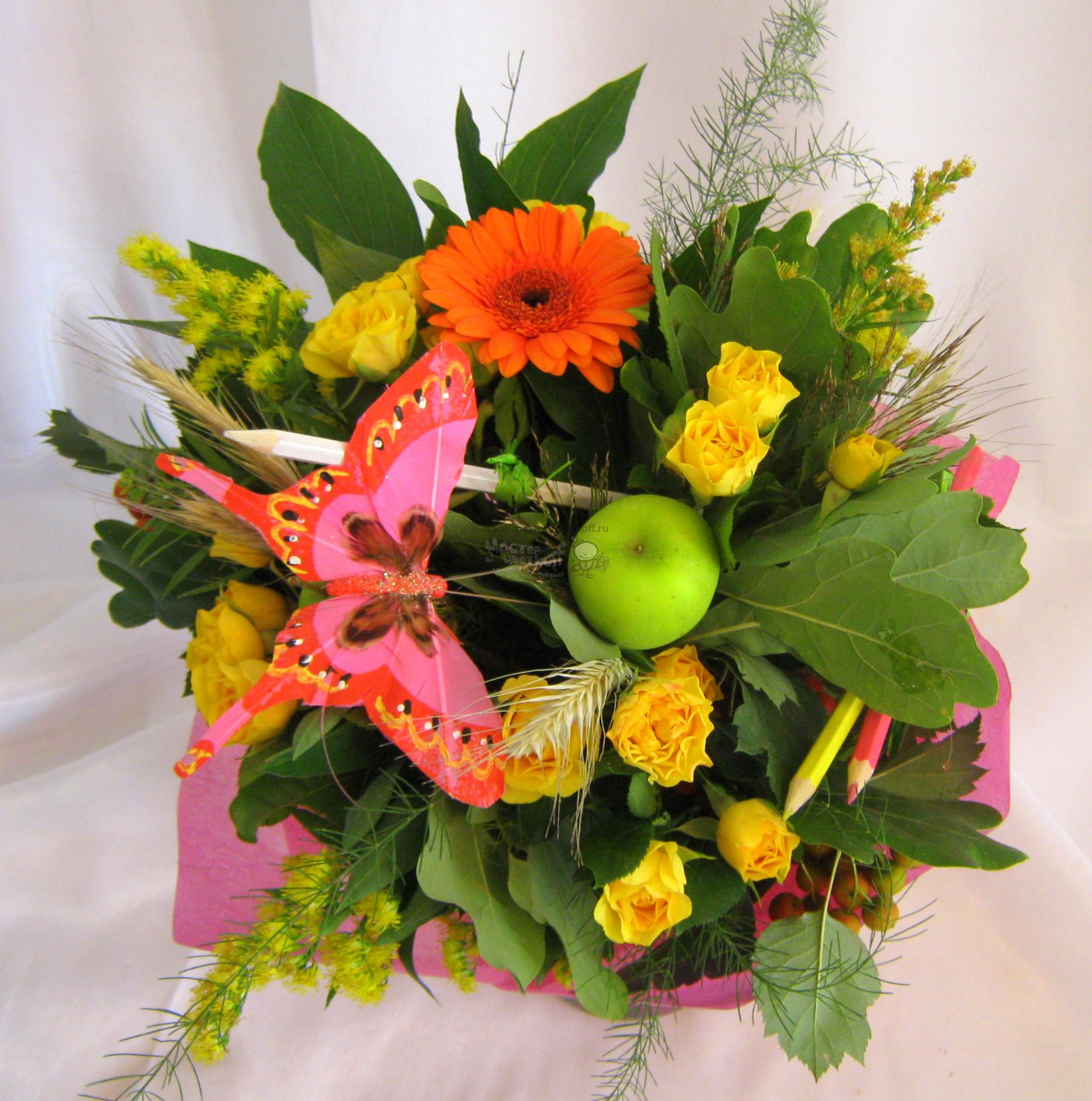 Букеты, какие цветы можно купить на 1 сентября